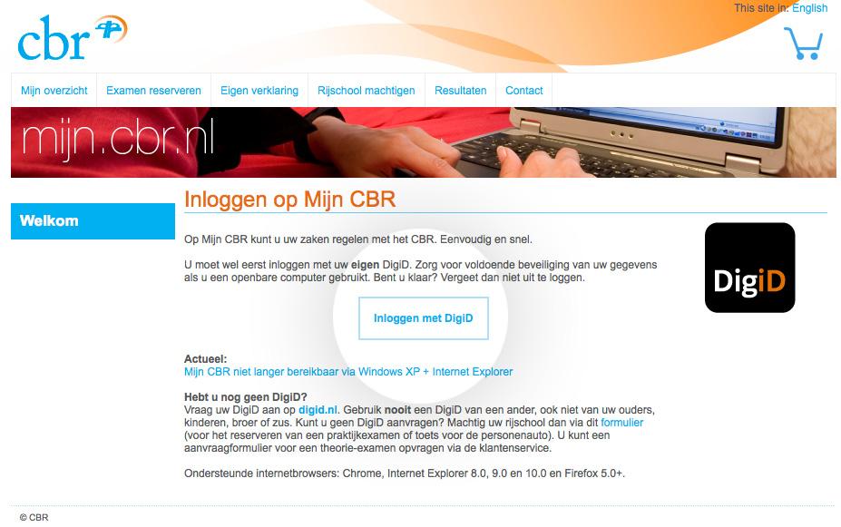 Schermafbeelding mijn.cb.nl
